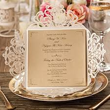 Wishmade 50x Beige Laser Cut Square Wedding Invitations Cards With Lace Flowers Engagement Birthday Bridal Shower
