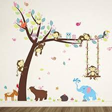 stikers chambre bebe elecmotive animaux autocollants muraux mural stickers chambre