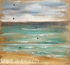 Beautiful Ocean Beach Painting On Rustic Wood With The Saying Lifes A Featured Here