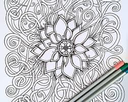 Adult Kids Coloring Page Flower Swirls Original Nature Art
