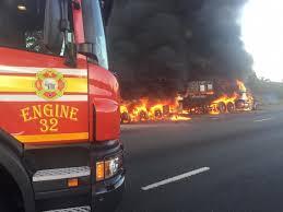 Dramatic Truck Blaze Near Irene