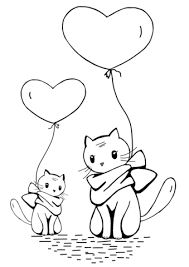 Cats With Heart Balloons Coloring Page