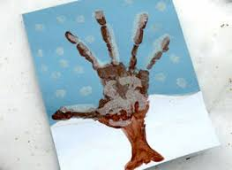 Let Kids Paint A Winter Scene Then Add Handprint Tree And Decorate See How Its Done At Kaboose