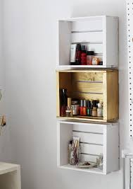 Wooden Crate Wall Shelves Floating Furniture Square White Brown Portable Drawer Classic Design Strong Material