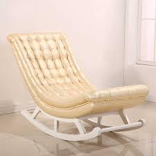 moderne design schaukel stuhl weiß leder holz hause möbel wohnzimmer erwachsene luxus schaukel stuhl rocker chaise design