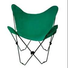 35†Retro Style Outdoor Patio Butterfly Chair With Green Cotton Duck  Fabric Cover