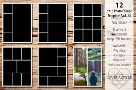 8x10 Photo Collage Template Pack 3 Templates Creative Market