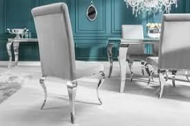 stylischer design stuhl modern barock grau stuhlbeine aus edelstahl samtoptik lehnstuhl esszimmerstuhl