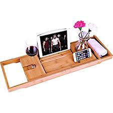 Bamboo Bathtub Caddy With Wine Glass Holder by Luxury Bamboo Bathtub Caddy Bath Tub Tray With Extending Sides