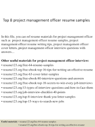 Top 8 Project Management Officer Resume Samples In This File You Can Ref Materials