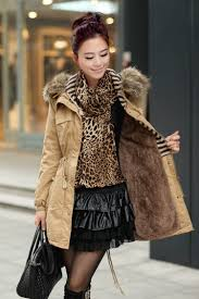ochre womens winter coats faux fur lining parka with fur hood on