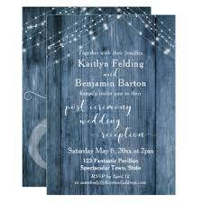Rustic Blue Amp Lights Post Wedding Reception Only Card