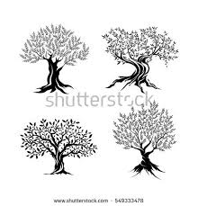 Olive trees silhouette icon set isolated on white background Web infographic modern vector sign