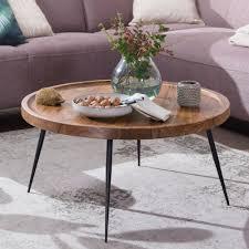 couchtisch 75x39x75 cm sheesham massivholz metall sofatisch design wohnzimmertisch rund stubentisch retro braun designer holztisch kaffeetisch