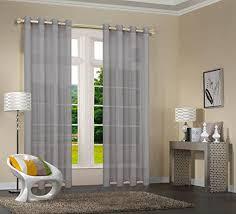 uni 20332cn 2er pack grau vorhang transparent gardinen set wohnzimmer voile vorhang ösenvorhang hxb 245x140 cm mit bleibandabschluß grau