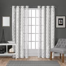 Panza Winter White Silver Metallic Geometric Print Sheer Grommet Top Window Curtain