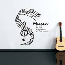 Music Is The Medicine Of Mind Wall Sticker For Kids Room Musical Notes Stave Removable