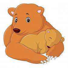 Mother And Baby Bear Cartoon Premium Vector
