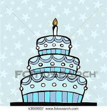 Clip Art Light blue birthday cake Fotosearch Search Clipart Illustration Posters