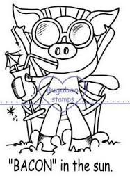 Bacon in the Sun summer digi stamp clip art illustration from Bugaboo stamps
