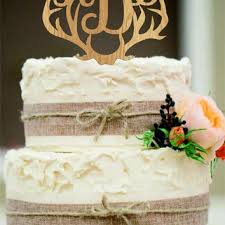 Wedding Cake Topper Rustic Decor Couple Monogram Country