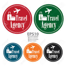 Vector Circle Vintage Style Travel Agency Icon Label Button Or Sticker Isolated On