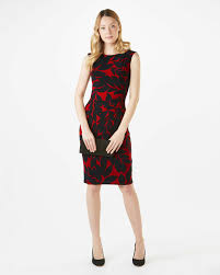 leaf print dress black red phase eight