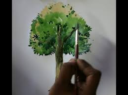 How To Sketch & Colour A Realistic Tree Easy Way Tree Drawing