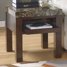 Square End Table with Pull Out Shelf with Outlet & USB Charger by