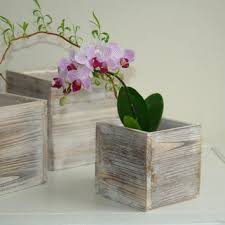 Wood Box Woodland Planter Flower Rustic Pot Square Vases For Wedding Wooden Boxes Shabby