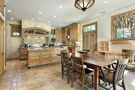 This Old Fashioned Tile Floor Kitchens Wide Open Design Is Complimented By Light Wood Cabinetry And