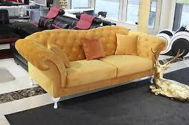 chesterfield gelbe sofa polster samt klassischer