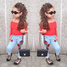 2017 Autumn Girls Cute Clothing Set Kids Red Shirt Jeans Pants 2 Piece