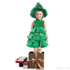 Girls Christmas Clothes Xmas Dress Outfits Children Kids Trees Cosplay Sundress With Balls Sleeveless Layered For 4 9 T