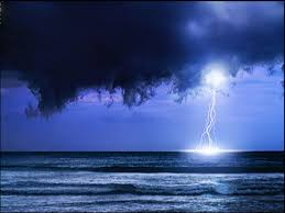 Lightning Storm Ocean Blue Clouds Night Nature Image For Mobile