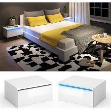 vicco nachttisch led nachtschrank kommode schlafzimmer weiß schwarz hochglanz