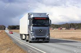 100 Mercedes Semi Truck JOKIOINEN FINLAND APRIL 23 2017 Steel Grey Benz