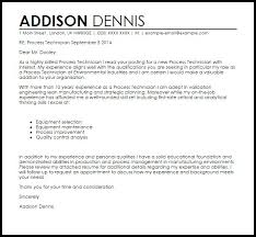 Manufacturing Technician Cover Letter Process Sample Templates