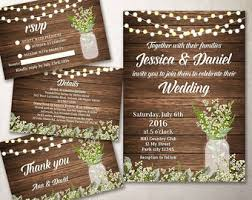 Rustic Wedding Invitation Kit Printable Barn Baby Breath Mason Jar Invite