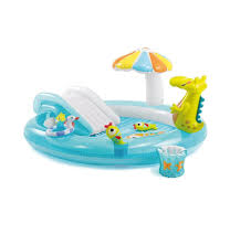 Intex 57129 Gator Play Center Inflatable Kiddie Spray Wading Pool With Slide