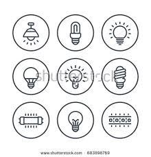light bulbs line icons set led stock vector 515875708