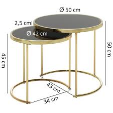 wohnling design satztisch cora schwarz gold beistelltisch metall glas couchtisch set aus 2 tischen kleiner wohnzimmertisch metalltisch mit