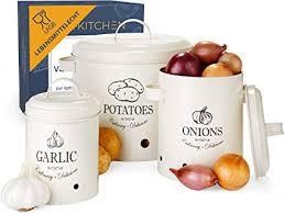 hikitchen vorratsbehälter kartoffeltopf zwiebeltopf und knoblauchtopf aufbewahrung in der küche als küchen deko kartoffel aufbewahrung zwiebel