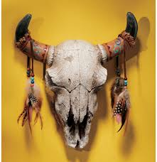 Decorated Cow Skulls Pinterest by Indian Art Work On Buffolo Hide Native American Adorned Replica