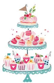 Watercolor dessert tiered cake stand Felicity French · Birthday Cake IllustrationDessert