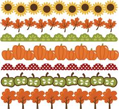 Fall borders svg cut files autumn svg pumpkin border leaf clipart