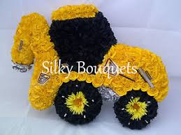 Image Is Loading Artificial Silk Funeral Flower Digger JCB Truck Wreath