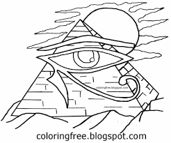 Printable Egyptian Pyramid Of Giza Drawing Egypt Symbol Eye Horus Coloring In Pages For Teenagers