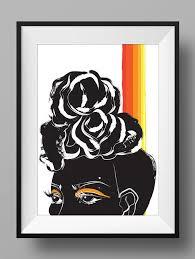 Black Women Wall Art Print Poster Woman Afro Natural Hair