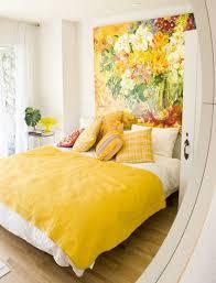 Yellow Themed Bedroom Design Idea Duvet Cover Throw Pillows Wall